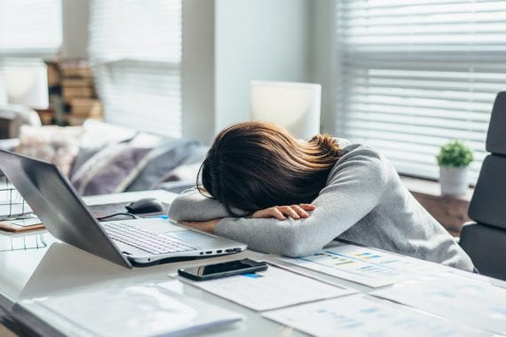 Woman,In,Workplace,Is,Resting,,Tired,Of,Work